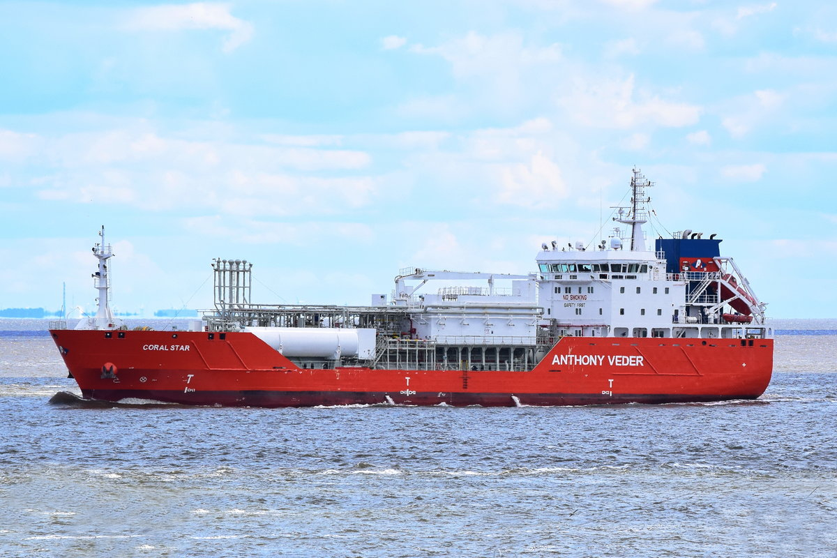 CORAL STAR , LPG Tanker , IMO 9685499 , Baujahr 2014 ,  99.95 x 17.2 m , Cuxhaven , 05.06.2020