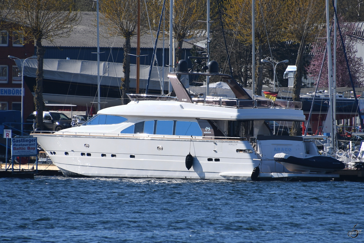 Die Yacht  Abaco  Anfang April 2019 in Travemünde.