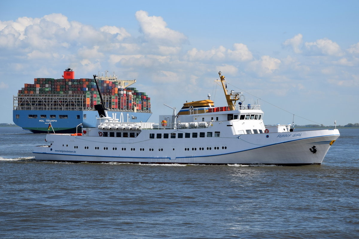 FUNNY GIRL , Fahrgastschiff , IMO  7315569 , Baujahr 1973 , 68.4 × 10m , 15.05.2017  Cuxhaven