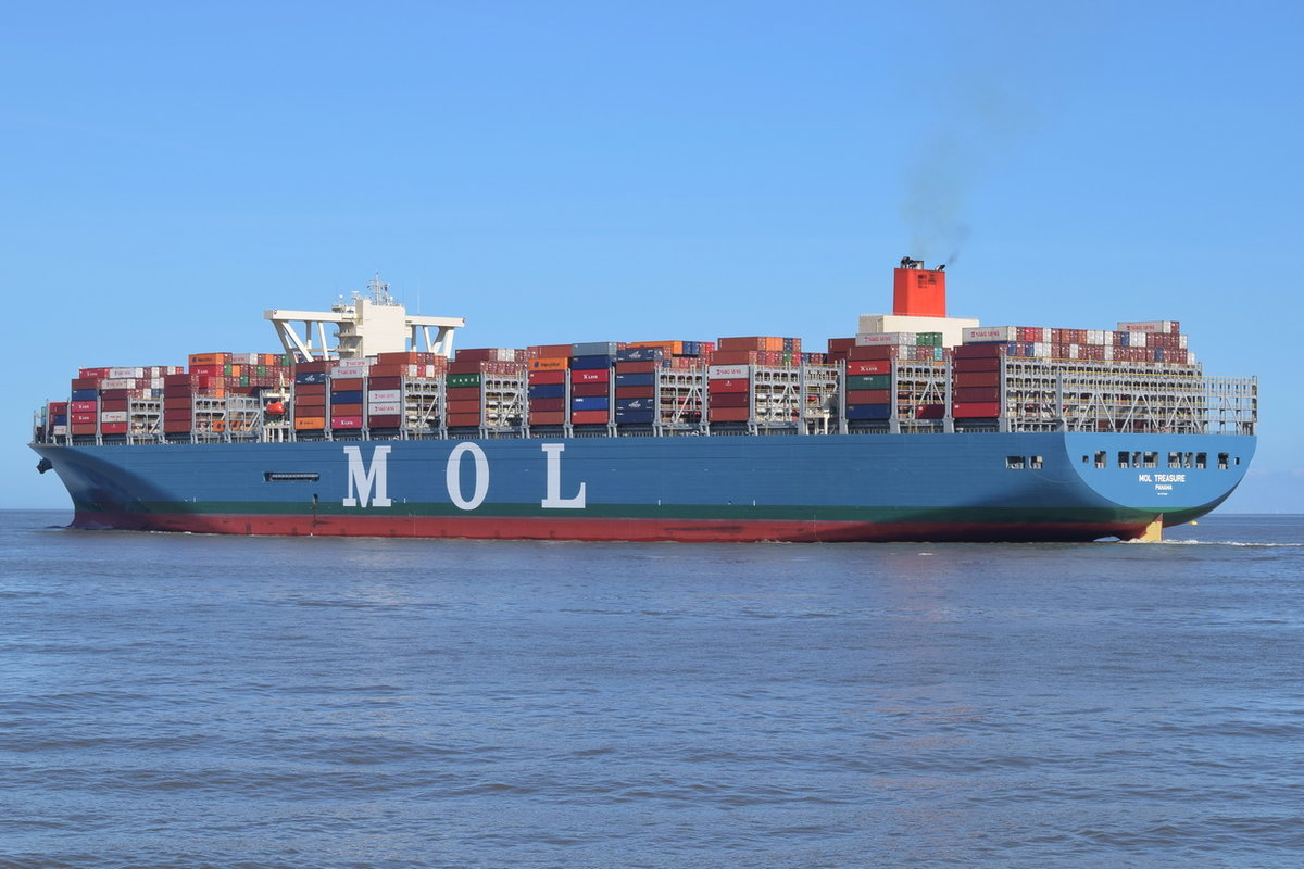 MOL TREASURE , Containerschiff , IMO 9773222 , Baujahr 2018 , 399 × 58m , 20150 Teu , 06.04.2018 Cuxhaven