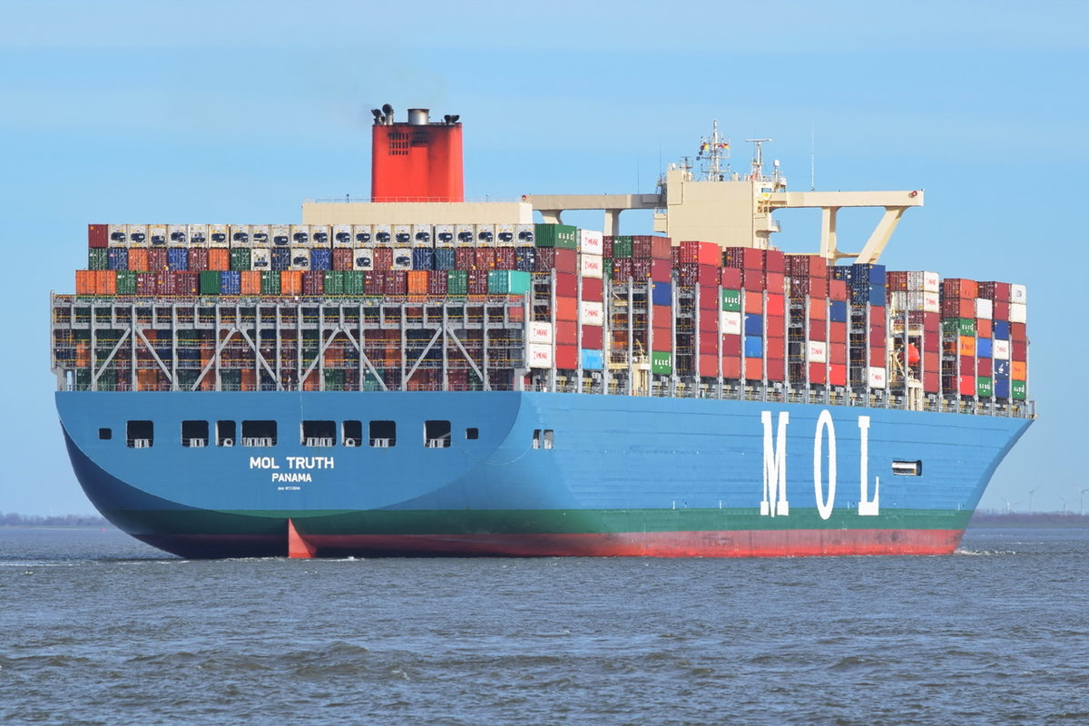 MOL TRUTH , Containerschiff , IMO 9773210 , Baujahr 2017 , 399 × 58m , 20150 TEU , 06.04.2018 Cuxhaven