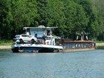 Heckansicht des GMS Spree (05110500 , 85 x 9,57m) am 24.06.2016 im Sacrow-Paretzer-Kanal zu Berg Richtung Berlin.