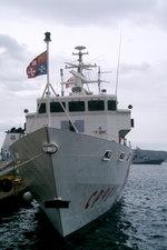 Patrouillenboot 'Michele Fiorillo' (CP 904) der italienischen Küstenwache im Hafen von Palau, Sardinien. Es gehört zur Saettia-Klasse, Mark II und wurde auf der Fincantieri-Werft in Muggiano bei La Spezia gebaut. Indienststellung: Januar 20 ...
