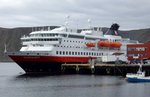 Die MS Nordkapp der HURTIGRUTEN am 03.09.16 in Honnigsvag (NOR)